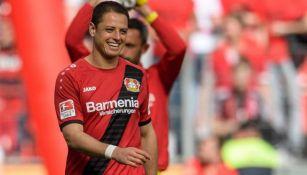 Javier Hernández feliz tras triunfo con el Leverkusen