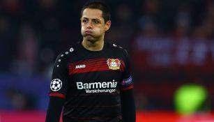 Chicharito, durante un juego del Bayer Leverkusen