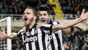 Bonucci y Morata con la Juventus en un partido