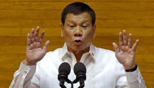 Rodrigo Duterte durante su segundo discurso sobre el Estado Filipino