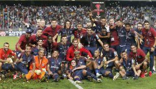 Jugadores del PSG, tras ganar la Supercopa de Francia 2017