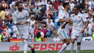 Sergio Ramos celebrando el gol del Real Madrid frente a Levante en La Liga