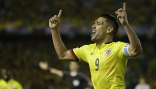 Falcao celebrando un gol con la camiseta de Colombia