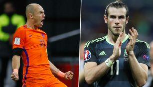 Robben celebra un gol | Bale aplaude tras un juego de Gales