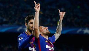 Paco Alcacer celebra su gol en Champions
