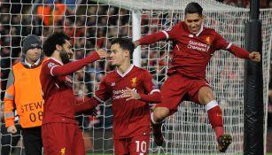 Jugadores del Liverpool, tras marcar en la goleada contra Spartak