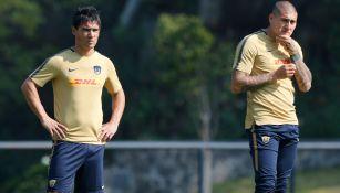 Alustiza y Castillo, durante un entrenamiento con Pumas