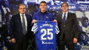 Moreno, en su presentación con la Real Sociedad