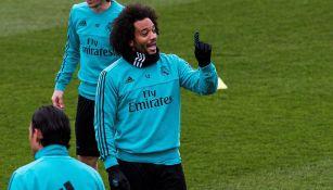 Marcelo, durante entrenamiento con el Real Madrid
