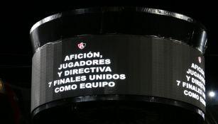 Atlas muestra un mensaje de unión en la pantalla del Jalisco