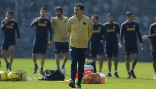 David Patiño, durante un entrenamiento con Pumas