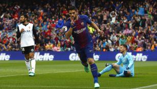 Luis Suárez festeja gol frente al Valencia