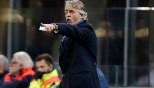 Mancini, durante un partido con el Inter