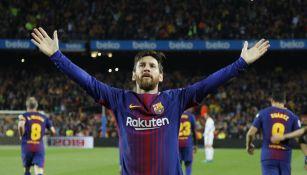 Messi celebra una anotación con el Barça en La Liga