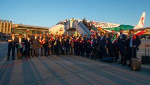 Selección de Irán a su llegada a Moscú