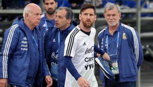 Messi en el entrenamiento de Argentina en Rusia