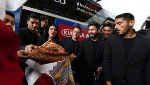 Selección Mexicana durante la ceremonia de bienvenida a Moscú