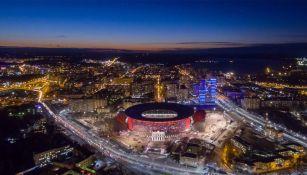 Así luce la Arena de Ekaterimburgo por la noche