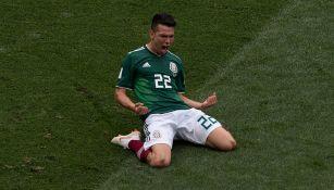 Lozano celebra el gol frente a Alemania