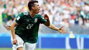 Lozano festeja el gol que le hizo ayer a Alemania en la Copa del Mundo