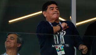 Maradona, durante el partido de Argentina