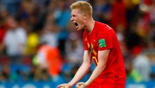 Kevin de Bruyne festeja un gol con Bélgica