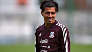 Erick Gutiérrez, durante un entrenamiento con el Tri