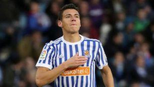 Moreno, durante un duelo con la Real Sociedad