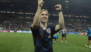 Modric celebra una victoria en el Mundial de Rusia