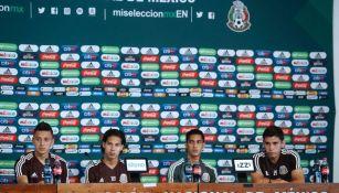 Alvarado, Lainez, Aguirre y Angulo en conferencia de prensa