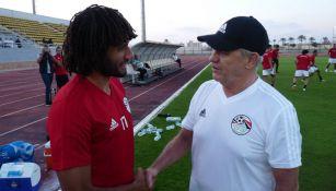 Javier Aguirre, durante su primer entrenamiento con Egipto