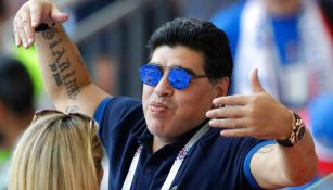 Maradona disfruta de un partido en el Mundial de Rusia 2018