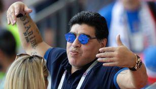 Maradona en un partido de Argentina en Rusia
