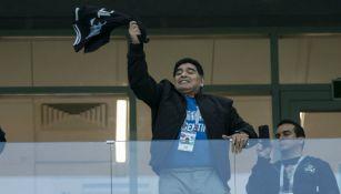 Maradona durante un partido de Argentina en el Mundial