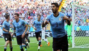 Luis Suárez celebra una anotación en la Copa del Mundo de Rusia 2018