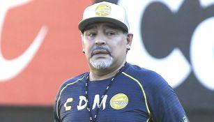 Armando Maradona durante un entrenamiento con Dorados