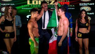 Gustavo López (i) y José Alday (d), durante el pesaje oficial