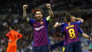 Messi celebra anotación con el Barcelona en Champions League