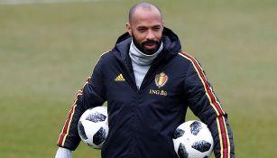 Thierry Henry en una práctica de Bélgica