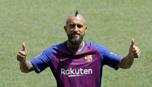 Vidal, en su presentación con Barcelona