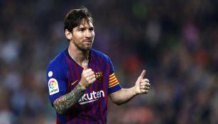 Messi festeja un gol contra el Sevilla