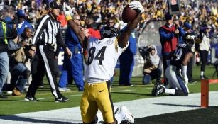 Antonio Brown celebra luego de anotar un touchdown