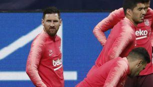 Messi, en la práctica del Barça previo al juego vs Inter