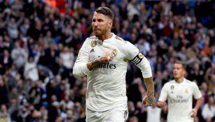Sergio Ramos festeja un gol contra el Real Valladolid