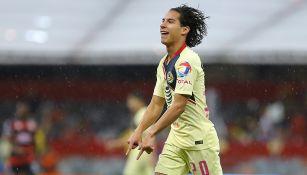 El jugador festeja su gol contra los Pumas