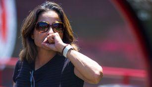Andrea Rodebaugh en un partido con Xolos Femenil