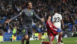 Rubén Pardo festeja su gol frente al Real Madrid