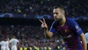Jordi Alba festeja gol con Barcelona