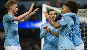 Manchester City festeja gol de Gabriel Jesús