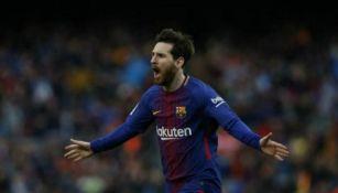 Messi festeja anotación con el Barcelona